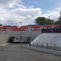 Blick vom Marktplatz auf die neue Bahnunterführung