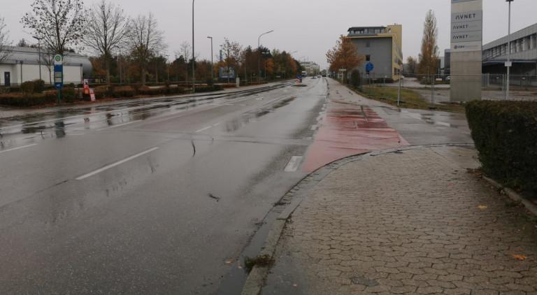 Gruber Straße – leider nur ein aufgemalter Radweg